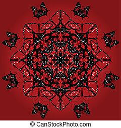 Red kaleidoscope butterflies - Kaleidoscope pattern of red...