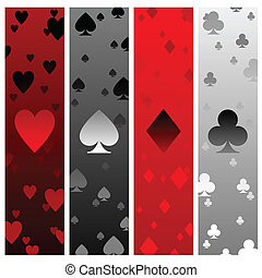 Card suit banners - Four banners with heart spade diamond...