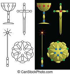 Tarot card symbols - Minor arcana symbols for use in tarot...