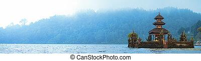Bali Temple - Panorama of beautiful Bali water temple on...