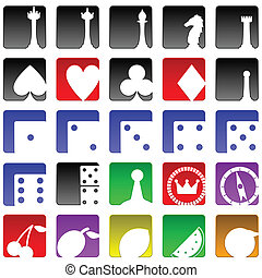 Game icons - Set of twenty five game and gambling related...
