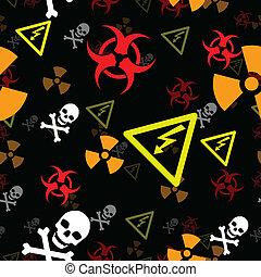 Seamless hazard background - Hazard and danger symbols form...