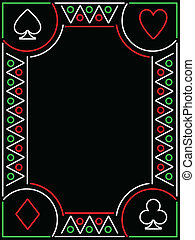 playing card frame - Frame composed of neon playing card...