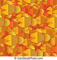 Seamless fish background - School of goldfish forms a...