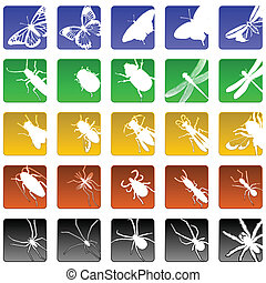 insect icons - Set of 25 beveled insect and spider icons
