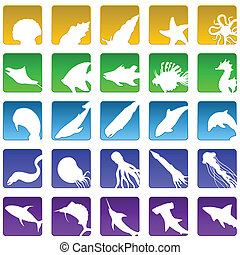 sealife icons - Set of twenty five beveled marine life icons...