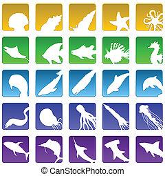 sealife icons - Set of twenty five beveled marine life icons...