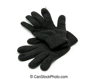 Big black winter mittens on white background