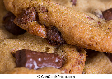 Chocolate Chip Cookies - A closeup of chocolate chip cookies