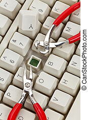 IT Support - Computer Keyboard and Tools, concept of IT...