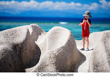 Little boy on vacation in Seychelles - Little boy at Anse...