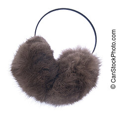 Ear muff - fuzzy winter ear muff isolated on white...
