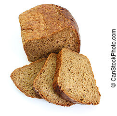 Black rye bread with the fried crust is isolated on a white...