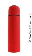 Red thermos isolaated on white background