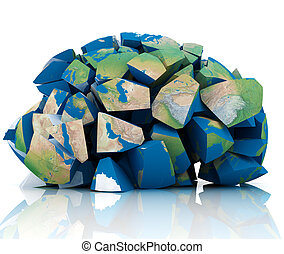 Global Destruction - 3d illustration of earth destroyed to...