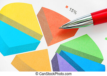 Pie chart - Colorful pie chart and pen