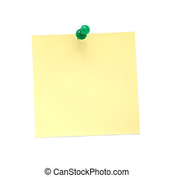 Blank yellow sticky note with pushpin isolated on white...