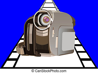 Camcorder - Modern digital video camera to film background