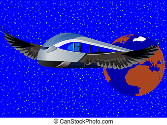 High-speed train - Abstract image of a modern high-speed...