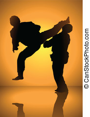 Martial Art Match - Silhouette of men having a martial art...