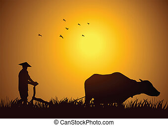 Traditional Paddy Field - Stock illustration of a farmer...