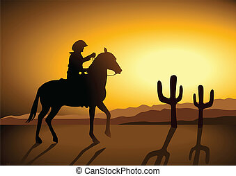 Wild Wild West - Silhouette illustration of a cowboy riding...
