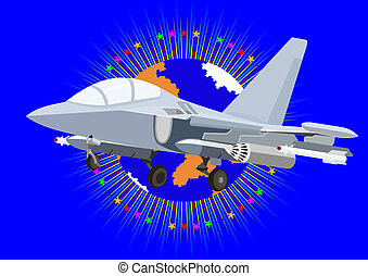 Modern fighter - Airforce Modern military aircraft on an...