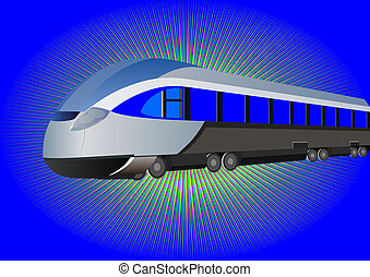 Modern high-speed train on a blue background