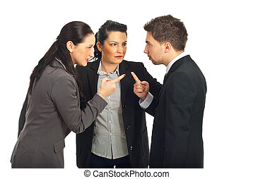 Business people conflict - Two business people arguing and...