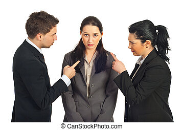 Two business people accuse her colleague and pointing to her...