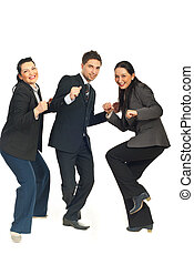 Three group of business people dancing and celebrate their...