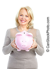 Woman with a pig bank Isolated over white background