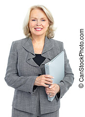 business woman - Smiling business woman. Isolated over white...