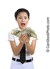 businesswoman with a lot of money - businesswoman going...