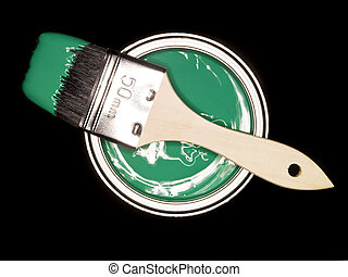 Green Paint can and brush