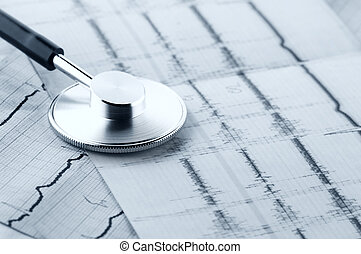Medical still life - Close-up of stethoscope on cardiograms....