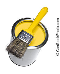 Yellow Paint can and brush isolated on white background