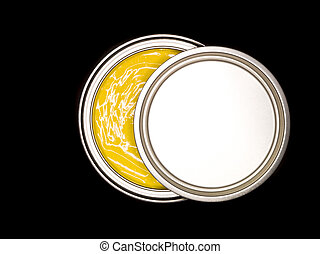 Yellow Paint can from above on black background