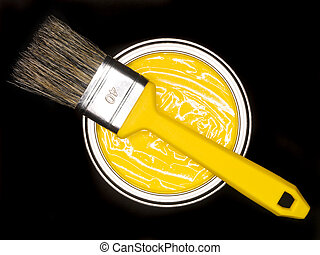 Yellow Paint can and brush from above on black background