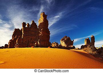 Bizarre sandstone cliffs in Sahara Desert, Tassili NAjjer,...