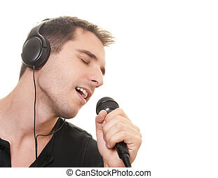 Man singing - handsome man singing. Isolated over white...