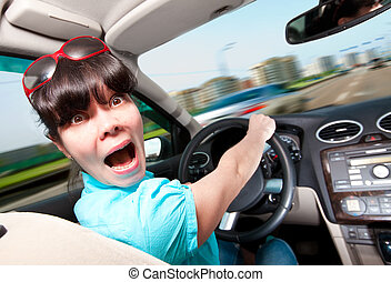 mulheres, dirigindo, car