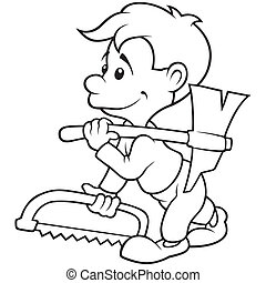 Carpenter - Black and White Cartoon illustration, Vector