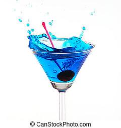blue cocktail splashing