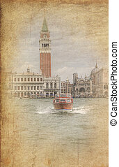 Retro grunge photo of Water taxi, Venice lagoon, San Marco Piazza, Saan Marco Basilica, Campanile all in one image - very typical Venice