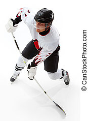 Playing ice hockey - Portrait of healthy sportsman playing...