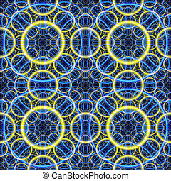 Seamless. Blue-yellow fractal background