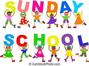 Sunday School - Cute illustration of a group of happy and...