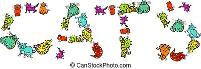 Cats - Cute cartoon illustration of a group of lots of...