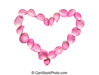 Pose Petals Heart - Heart shape made from red rose petals....